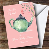 Customised Tea For Two Twins Baby Shower Card