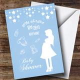 Customised Stars Blue Baby Shower Card