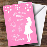 Customised Stars Pink Baby Shower Card