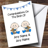 New Baby Arrival Baby Boy Twins Customised New Baby Card