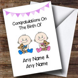 New Baby Arrival Baby Boy & Girl Twins Customised New Baby Card