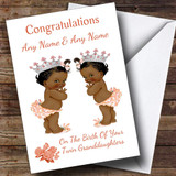 You Have New Twin Granddaughters Girls Black Baby Customised New Baby Card