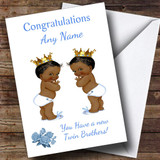 Cute You Have New Twin Brothers Black Baby Customised New Baby Card