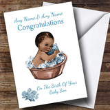 Cute Vintage Blue Black Baby Boy Son Customised New Baby Card