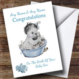 Cute Vintage Blue Baby Boy Son Customised New Baby Card