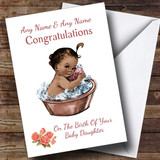 Cute Vintage Black Baby Girl Daughter Customised New Baby Card