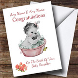 Cute Pink Baby Girl Daughter Customised New Baby Card