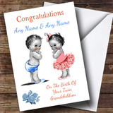 Cute New Baby Twin Grandchildren Boy & Girl Customised New Baby Card