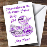 White Purple Word Art Girl Customised New Baby Card