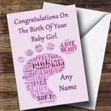Pink Purple Footprint Girl Customised New Baby Card