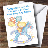 Cute Teddy Rocking Horse Customised New Baby Card