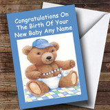 Blue Cute Teddy Boy Customised New Baby Card
