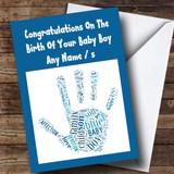 Blue Boy Word Art Handprint Customised New Baby Card