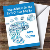 Blue Boy Word Art Footprint Customised New Baby Card