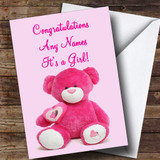 Pink Teddy It's A Girl Customised New Baby Card