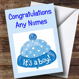 Its A Boy Blue Hat Customised New Baby Card