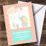 Customised Spotty Elephant Congratulations New Baby Card