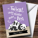 Customised Twins Panda Double Trouble Fun New Baby Card