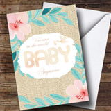 Customised Vintage Floral Stork New Baby Card