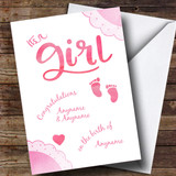 Customised Girl Pink Baby Feet New Baby Card
