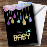 Customised Sparkle Cloud Stork New Baby Card