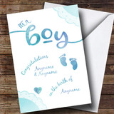 Customised Boy Blue Baby Feet New Baby Card