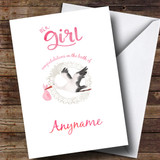 Customised Stork Baby Girl New Baby Card