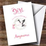 Customised Stork Baby Girl New Baby Card
