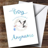Customised Stork Baby Boy New Baby Card