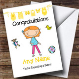 Red Haired Mum To Be Expecting A Baby Customised Pregnancy Card