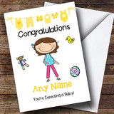 Single Brunette Mum To Be Expecting A Baby Customised Pregnancy Card