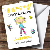 Single Blonde Mum To Be Expecting A Baby Customised Pregnancy Card