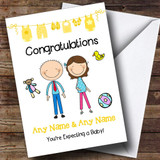 Brunette Mum To Be Congratulations Expecting A Baby Customised Pregnancy Card