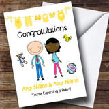 Cute Black Mum 2 Be Congratulations Expecting A Baby Customised Pregnancy Card