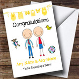 Gay Male Couple Congratulations Expecting A Baby Customised Pregnancy Card