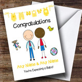 Gay Male Black & White Expecting A Baby Customised Pregnancy Card