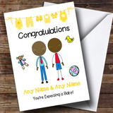 Gay Male Black Congratulations Expecting A Baby Customised Pregnancy Card