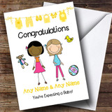 Lesbian Couple Congratulations Expecting Baby Customised Pregnancy Card