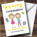 Gay Lesbian Couple Congratulations Expecting A Baby Customised Pregnancy Card