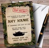 Top Secret Army Soldier Camouflage Children's Birthday Party Invitations