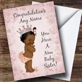 Pink Vintage Baby New Baby Sister Black Girl Customised Sibling Card