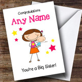 Dark Haired Big Sister New Baby Boy Brother Customised Sibling Card