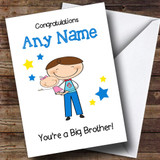 Dark Haired Big Brother New Baby Sister Girl Customised Sibling Card