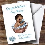 Cute Vintage Blue Black Baby Boy Brother Customised Sibling Card