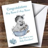Cute Vintage Blue Baby Boy Grandson Customised Sibling Card