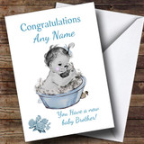 Cute Vintage Blue Baby Boy Brother Customised Sibling Card