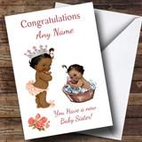 Cute Vintage Black Baby Girl You're A Big Sister Customised Sibling Card