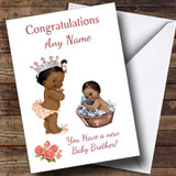 Cute Black Baby Boy Brother You're A Big Sister Customised Sibling Card