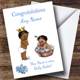 Black Baby Girl Sister You're A Big Brother Customised Sibling Card