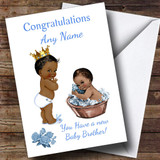 Cute Vintage Black Baby Boy You're A Big Brother Customised Sibling Card